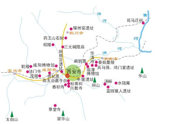 陕西西安旅游地图